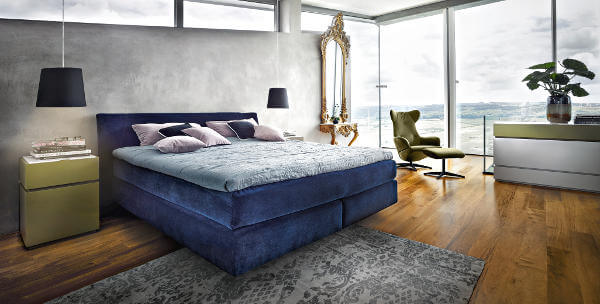 Design-Boxspringbett blau Samt