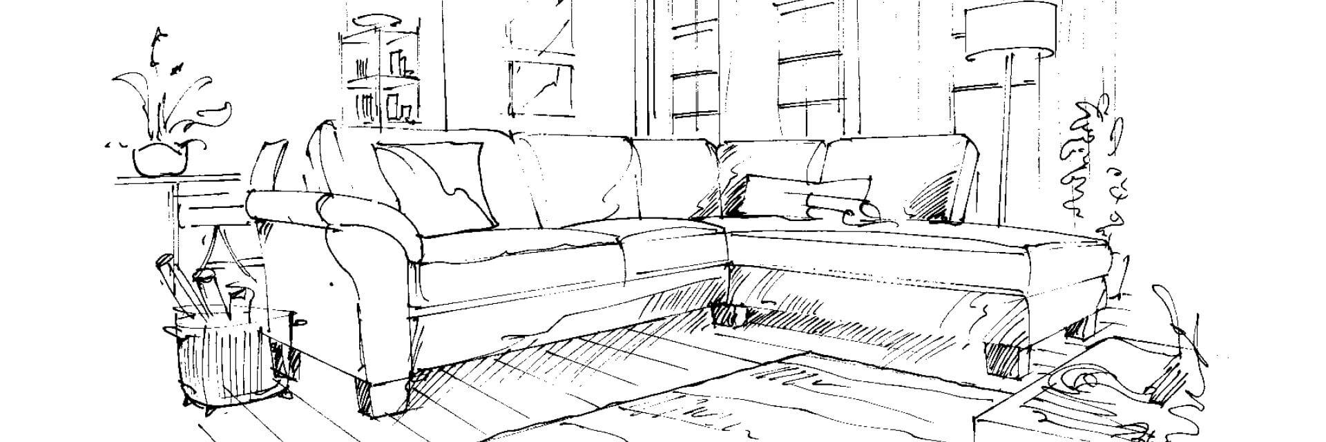 Skizze eines Sofas